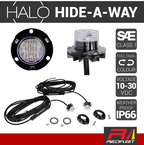 """HALO L.E.D. """"DUAL-COLOUR"""" Hide-A-Way Warning Light (Paired Kit)"""