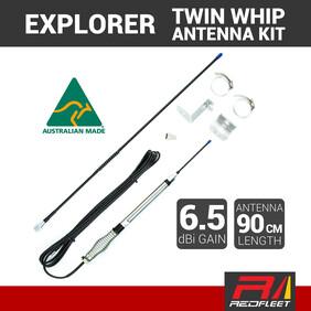 "EXPLORER 90cm 6.5dBi ""AUSSIE MADE"" UHF CB Twin Whip Antenna Kit"