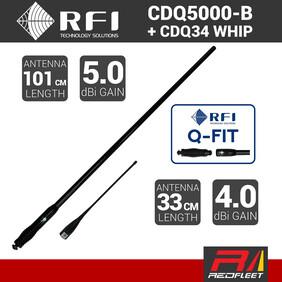 RFI 101cm 5dBi CDQ5000-B + 33cm 4dBi CDQ34 UHF CB Vehicle Antenna with Q-FIT Removable Whips (BLACK)