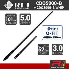 RFI 101cm 5dBi CDQ5000-B + 52cm 3dBi CDQ3000-B UHF CB Vehicle Antenna Q-FIT Removable Whips (BLACK)