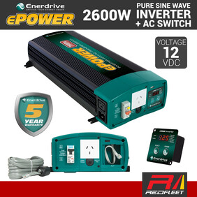 ENERDRIVE EPOWER 2600W 12V DC RCD & AC Transfer Safety Switch Pure Sine Wave Vehicle Power Inverter