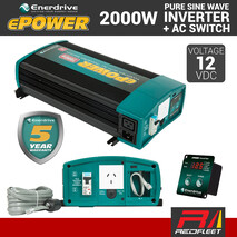 ENERDRIVE ePOWER 2000W 12V DC RCD & AC Transfer Safety Switch Pure Sine Wave Vehicle Power Inverter