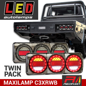 (PAIRED SET) MAXILAMP 3 Series Stop Tail Indicator Reverse Combination Tail Lights C3XRWB C3XRW