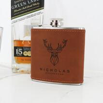 Engraved Leatherette Hip Flask
