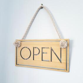 Bamboo Modern Open & Closed Sign Set