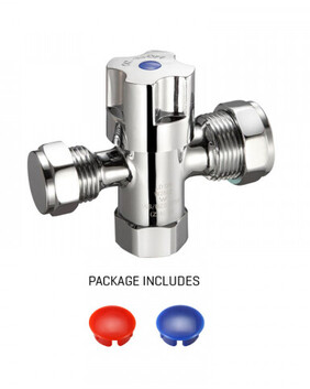 Tapware - Valves | Fitquick Dual Isolation Stop | 1/4 Turn CD | Chrome | Code: AW-SDMH2015
