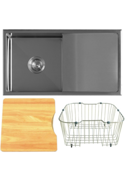 Kitchen Sink | Top Mount Single Bowl with radial corners & Flat Bed Drainer - Code: TKS-110RA
