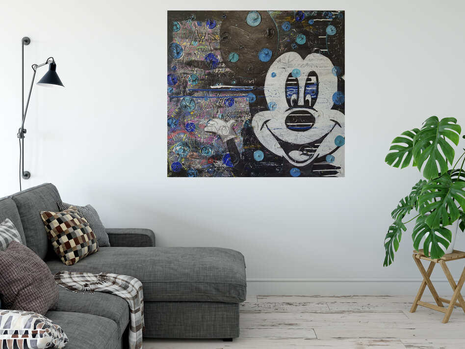 (Available Now) Hey Mickey original painting 86 x 91.5 x 4.5cm