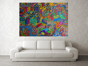 (SOLD) Land and Ocean unite as one 140cm H x 195cm W by 4.5cm D.