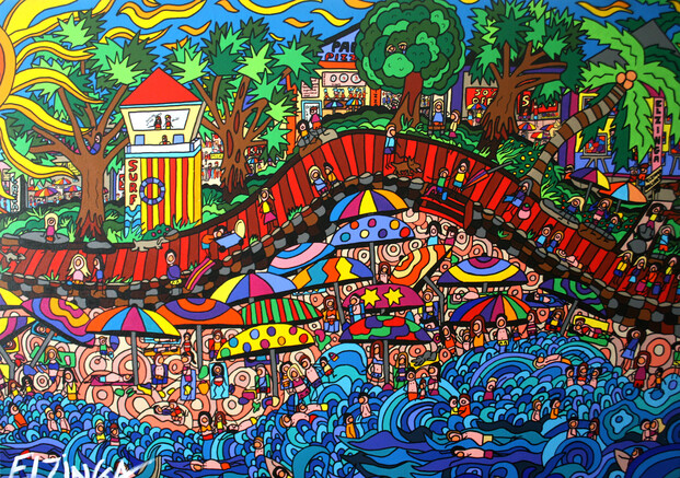 (SOLD) Commission another -Ocean day out - original painting