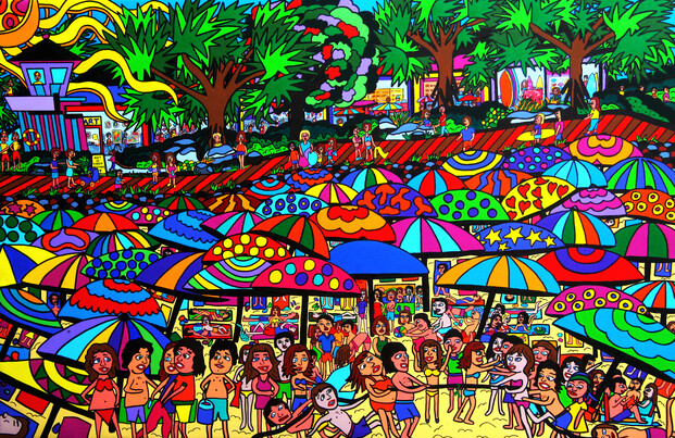 (SOLD) Commission another -Original Acrylic Painting - Fun Beach