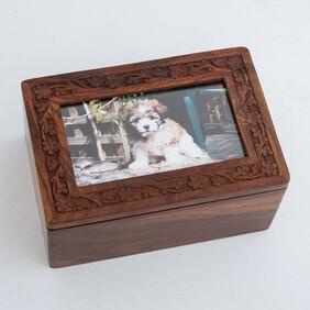 Engraved Wooden Photo Box Pet Urn