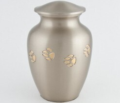 Paw Prints collection - Chetan classic paw tracks Pet Urn- Pewter/Bronze with antique finish