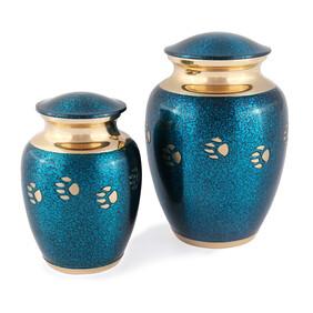 Paw Prints collection - Chetan classic paw tracks Pet Urn- Metallic blue/Bronze finish