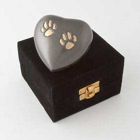 Eternal heart keepsake double paw - slate/bronze with anmtique finish