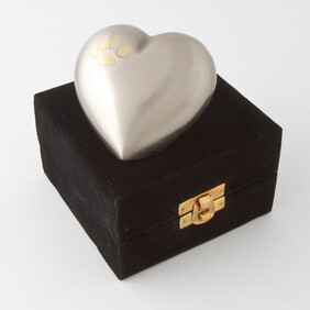 Eternal heart keepsake single paw - pewter/bronze with antique finish