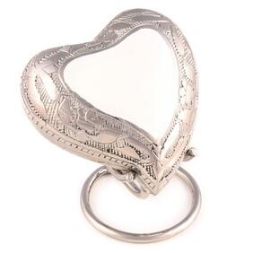 Ashes Purity heart engraved keepsake White/Polished Nickel