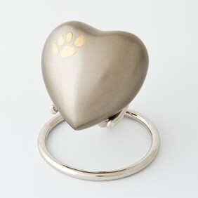 Eternal heart keepsake corner paw - pewter/bronze with antique finish