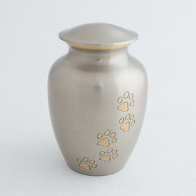 Heavenly Paws Pet Urn - pewter/bronze with antique finish