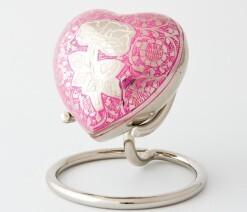 Rose heart keepsake polished nickel/white pink rose