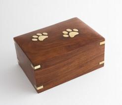 Pet urn with brass paw prints