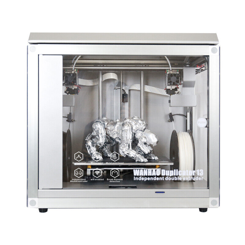 WANHAO D13 FULLY ENCLOSE BUILD SPACE DUAL IDEX EXTRUDERS.