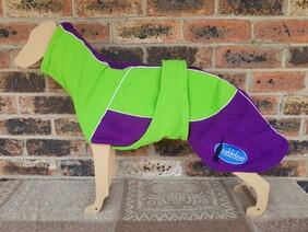 Medium fleece coat - Lime green / Purple