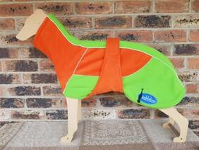 Large fleece coat - Orange  / Lime green