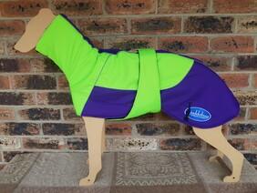 Large waterproof coat - Lime green / Purple